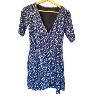 Blue floral mid sleeves wrap dress